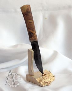 The maple burl wood knife stand. Fixed Blade by UnusualWorkshop