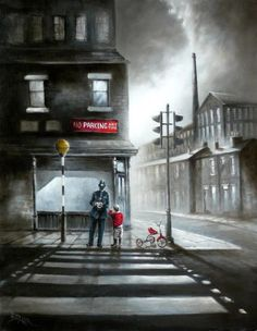 Bob Barker is a UK based artist, born and bred in Yorkshire. It's taken Bob Barker twenty years for his long time love of painting to evolve from a hobby to the point where interest in his work has taken on worldwide awareness. Skyline Painting, Skyline Art, Nostalgic Art, Naive Art, Moon Art, Pictures To Paint, Urban Art, Cool Artwork, Contemporary Artists