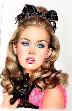 by Natalia Vasilyeva Colored Pencil Artwork, Color Pencil Art, 3d Art Drawing, Art Drawings, Drawing Women, Realistic Drawings, Pin Up Art, Girl Face, Face Art