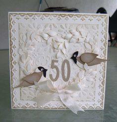 pretty anniversary card using Stampin up Bird Builder punch