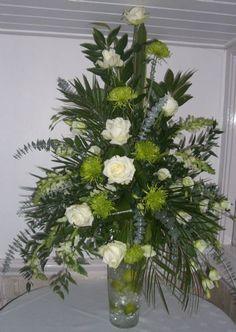 floral arrangment Contemporary Flower Arrangements, Unique Flower Arrangements, Church Flowers, Funeral Flowers, Silk Flowers, Beautiful Flowers, Funeral Arrangements, Wedding Reception Flowers, Container Flowers
