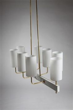 Paavo Tynell; Enameled Steel, Brass and Glass Ceiling Light by Idman Oy for  Mikkelin Celebration Hall, 1963.