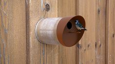 Recycle tin cans into bird feeders. Tin Can Crafts, Coffee Tin, Bird Boxes, Yanko Design, Bird Feeders, Bird Nests, Reuse, Repurpose, Outdoor Gardens