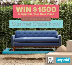 Win $1,500 to get your home in summer shape now with @Apt2B + @Unpakt. Enter here: http://www.apt2b.com/apt2b-unpakt