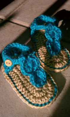 sale Crochet baby Sandals Gladiator turquoise by CreationsIvy