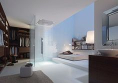 Open plan bedroom, ensure, walk in robe.. Shower is too close to the bed, but apart from that I love the concept.