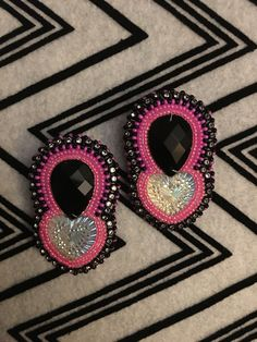 Black and pink beaded earrings