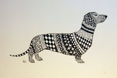 Dachshund+Zentangle+Original+Pen+and+Ink+Drawing+with+por+annnna,+$45,00