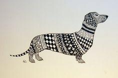 Dachshund Zentangle Original pluma y tinta de dibujo con por annnna