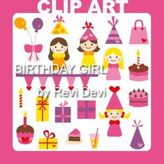 Clip art Birthday Girl. This set includes 20 digital graphics. Pink, purple, yellow color scheme. Clipart collection for birthday themed projects. Graphics includes cute girls, balloons, gifts, hats, cakes, and more fun elements.This cute digital clipart set is great for teachers and educators.