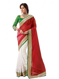 White and Red Brasso Saree with Embroidery Work