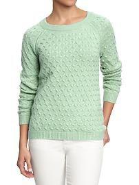 Women's Honeycomb-Knit Crew Sweaters