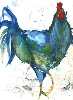 Rooster art http://www.etsy.com/listing/156283698/big-blue-chicken-art-print-by-artist