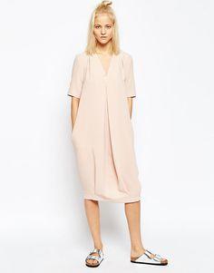 Image 1 ofASOS WHITE Double V Neck Midi Dress