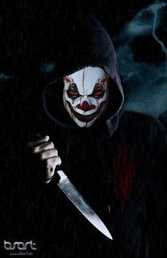 Joker by on DeviantArt Gruseliger Clown, Scary Clown Makeup, Clown Horror, Creepy Clown, Arte Horror, Scary Wallpaper, Hacker Wallpaper, Gas Mask Art, Masks Art