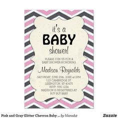 Pink and Gray Glitter Chevron Baby Shower Card Chevron is a pattern that never seems to go out of style! This classy baby shower invitation features a pink and gray chevron stripe pattern on the front, as well as on the back. The chevron stripes are filled with a glitter print, but please note, there is NO actual glitter on this product. It is ONLY a print. This is the perfect invitation for those new mommy's who are expecting a precious baby girl. You can completely personalize the…