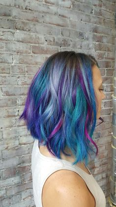 Galaxy Mermaid colored hair. Purples pinks. Grey teal blue violets multicolored hair cut and color by Maura D'arcy IG@MAURADARCY