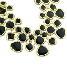 Black and Gold Enamel Necklace NWOT Beautiful and classy Black enamel necklace Jewelry Necklaces