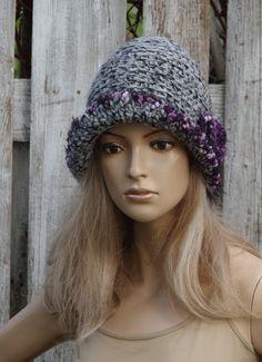 Hat Women's Melange grey Hat Handmade Hat Crochet Hat by Degra2