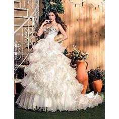 A-line/Princess sweetheart / pinceau train organza et la robe de mariée en satin – CAD $ 357.32