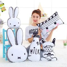 Cotton Baby Pillow Cute Rabbit Doll Pillow Baby Photo Props Baby Room Decor Gifts Mat Pillows Decorate Cushion Bed Toys #Affiliate