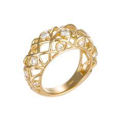 Brocade 18K Yellow Gold Diamond Right Hand Ring