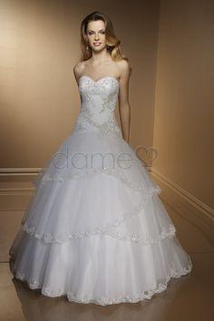 Applikation Herz-Ausschnitt Ballrobe Schnürrücken Tüll ärmelloses volle länge Brautkleid