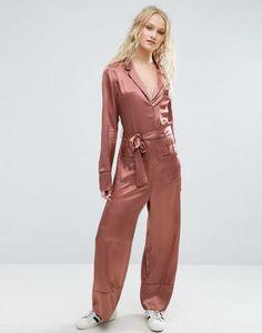 ASOS Pajama Style Jumpsuit in Satin