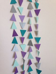 Purple Mint Teal & Silver Triangle Garland. by APopofConfettiCo