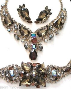 Sell one like this  Amazing Unsigned KRAMER Teardrop Rhinestone Necklace Bracelet Earring Set  mommylovesmicheala (seller)  e-bay
