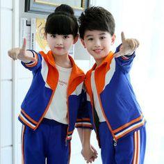 Bule niños otoño uniformes escolares ropa de deportes del muchacho ropa niñas adolescentes traje trajes bebé Chaquetas Pantalones chándal paño