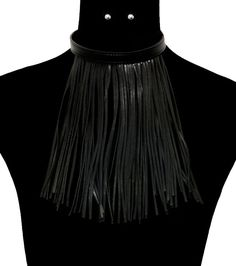 "15"" black faux leather tassel fringe collar choker bib boho necklace earrings #Unbranded"