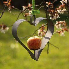Zinc heart bird feeder