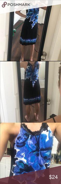 INC Blue and black tie dress Beautiful dress! So soft! Ties at the back. INC International Concepts Dresses Midi
