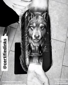 Wolf in black and gray realism - Wolf tattoo in black and gray realism on br . - Wolf in black and gray realism – Wolf tattoo in black and gray realism on the arm with forest bac - Animal Sleeve Tattoo, Best Sleeve Tattoos, Top Tattoos, Badass Tattoos, Skull Tattoos, Body Art Tattoos, Tattoo Tribal, Lion Tattoo, Tattoo Black