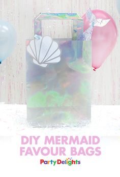 Have a go at making your own mermaid party bags with our gorgeous iridescent party bags jazzed up with our free printable gift tags. Such an easy mermaid party idea that your guests will love!