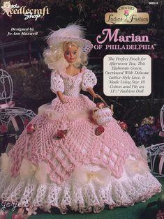 Crochet Toys Barbie Clothes Doll Crochet Pattern - Tea Gown Dress Pattern - Barbie Dress - Marian of Philadelphia - Ladies of F - Crochet Doll Dress, Crochet Barbie Clothes, Doll Clothes Barbie, Barbie Doll, Barbie Gowns, Barbie Dress, Doll Dresses, Barbie Patterns, Doll Clothes Patterns