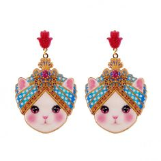 From the collection Manouche – Blue Cat Look Little Maharadjah Earrings...Paris based jewellery brand Les Néréides