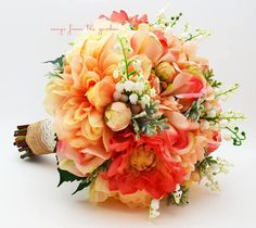 Coral Peach Grey Bridal Bouquet Lily of the Valley Dahlias Roses Hydrangea Peach Salmon Coral Grey White