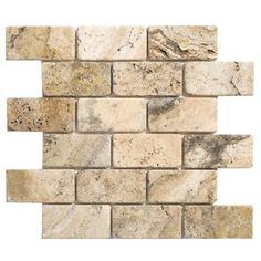 "Philadelphia+Travertine+Mosaic+Brick+Tumbled+14""+x+12""+Tile+in+Beige+and+Gray,+Backsplash+Tile,+Gray"