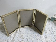 Trifold Picture Frames Retro Metal 3.5 x 5 Hinged Set by LuRuUniques on Etsy