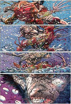 The Marvel Project Wolverine vs. Lady Deathstrike by Barry Windsor-Smith from Uncanny X-Men No other artist has ever captured the feral power of Logan's berserker rage like BWS and the last panel on this page is simply stunning! Comic Book Artists, Comic Artist, Comic Books Art, Marvel Comics, Hq Marvel, Marvel Live, X Men, Lady Deathstrike, Wolverine Art