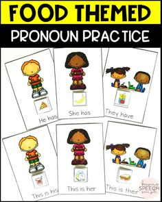 Fun grammar practice for preschool, kindergarten and first grade students. These fun activities are perfect for your speech room! These materials are also useful in preschools and special education classrooms. This resource targets vocabulary, pronouns and sentence structure. Low prep and highly motivating! Includes more fun language activities! Click here to see more!
