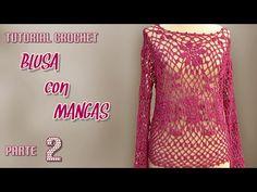 Blusa tejida con mangas largas a crochet (1 de 3) - VARIOS TALLES - YouTube