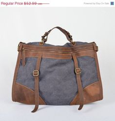 73ac8f1fbfdc9 ON SALE Canvas Briefcase  duffle bag  leather by JacquelineStudio