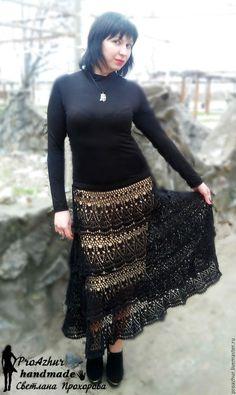 Купить Юбка крючком длинная - черный, юбка крючком, длинная юбка крючком…