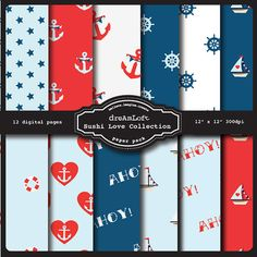 Hello Sailor Digital Paper Pack perfect for stationary, buttons, coasters, prints, packaging design, labels, gift paper