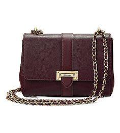 ASPINAL OF LONDON Lottie Saffiano-leather shoulder bag (Burgundy