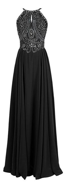 A-line Halter Straps Chiffon Long Beaded Prom Dress ==