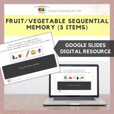 This digitally interactive resource is designed for use with Google Slides. This resource contains 10 slides in total.The student must remember the fruit/vegetable sequence, so that they can drag the fruit/vegetable that is missing in the sequence to the correct space once the sequence is covered up.